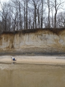 some random dude and a view of the cliffs -miocene formation in southern Maryland